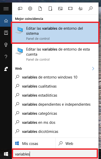 Buscar variables de Entorno en Windows 10 - www.jarroba.com