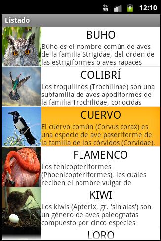 Ejemplo de listado final seleccionado un elemento - www.jarroba.com