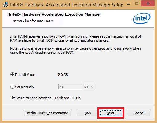 Instalador 2 Android emulador Intel HAWX
