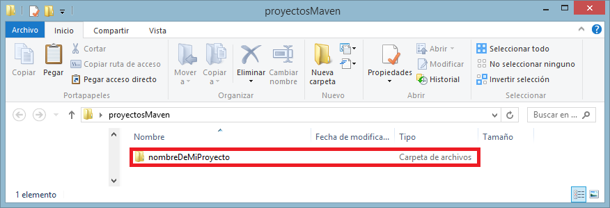 12 proyecto Maven creado en una carpeta - www.jarroba.com