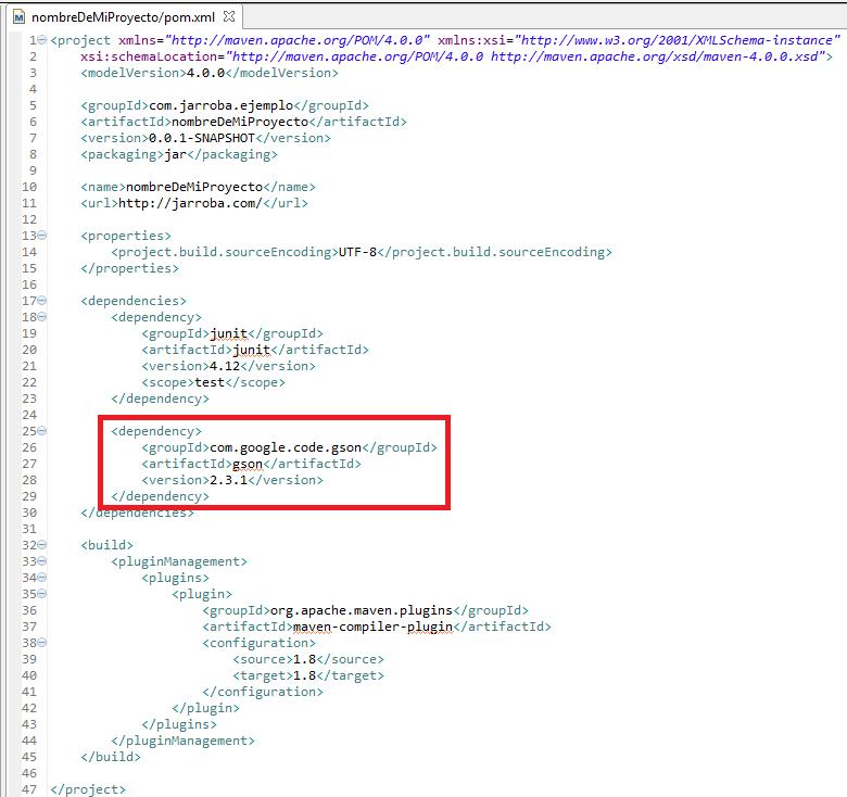 2 ejemplo artefacto maven con dependencias en Eclipse - www.jarroba.com