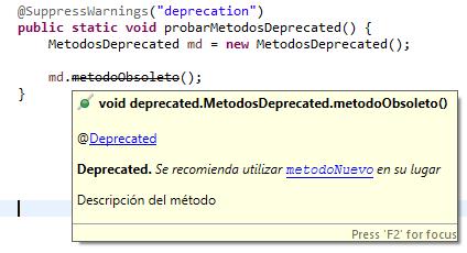 Annotation Deprected en comentarios Java - www.jarroba.com
