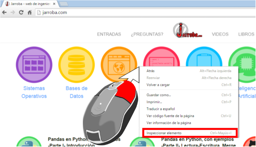 Abrir la consola de desarrollo del Navegador Chrome - www.Jarroba.com