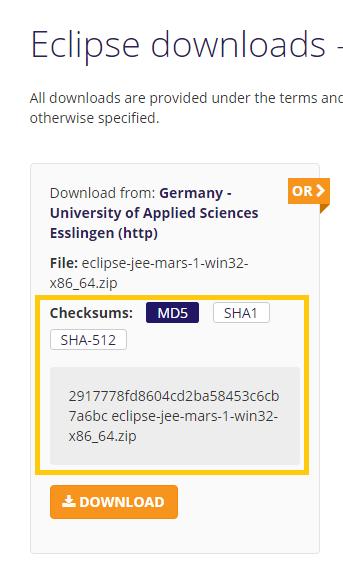 Código Hash al Descargar Eclipse - www.jarroba.com