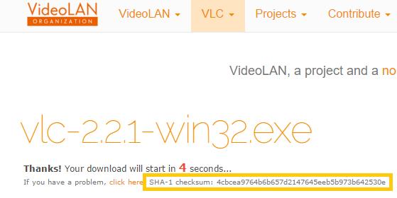 Código Hash al Descargar VideoLan - www.jarroba.com