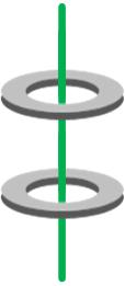 Dos núcleos magnéticos de ferrita atravesados por un único cable