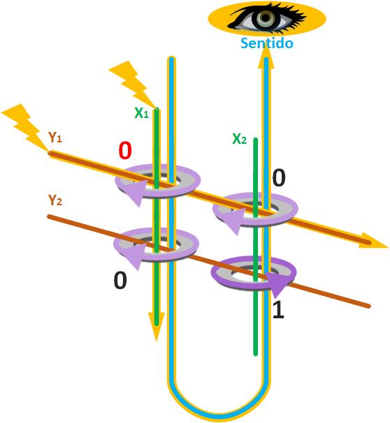 Ejemplo de matriz de 2 por 2 para lectura de núcleos magnéticos con cable de sentido que atraviesa a todos los núcleos magnéticos, detectando el cambio en el núcleo magnético que se a señalado