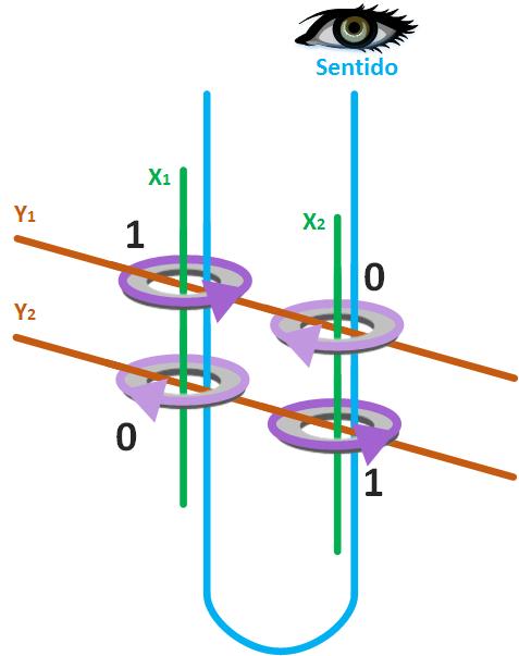 Ejemplo de matriz de 2 por 2 para lectura de núcleos magnéticos con cable de sentido que atraviesa a todos los núcleos magnéticos